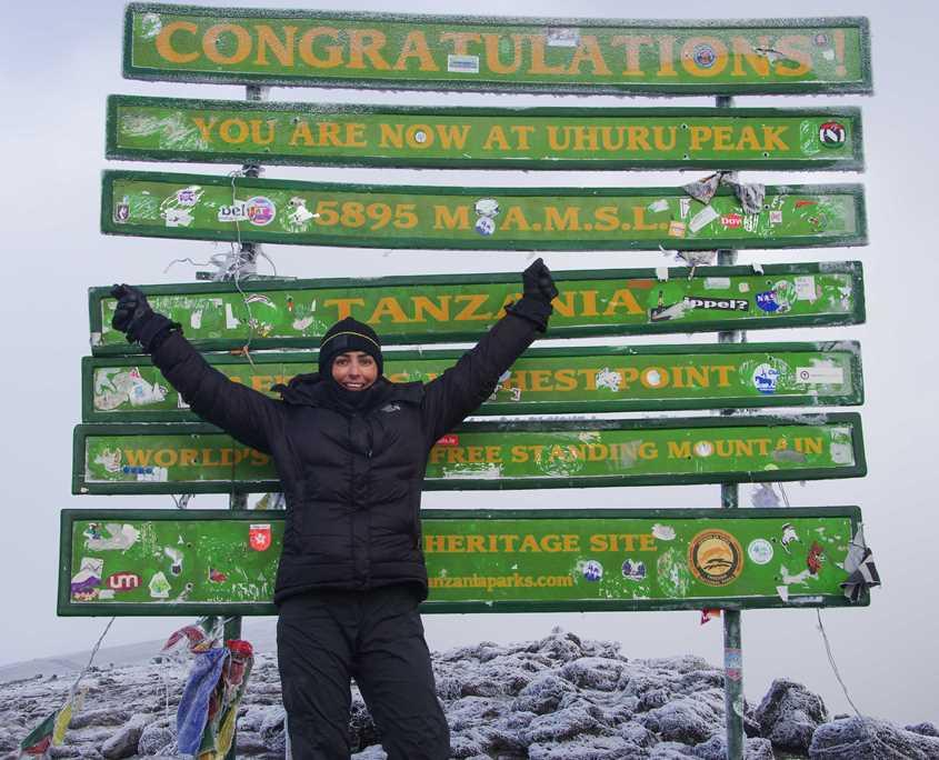 Emma Harrison on the summit of Mt Kilimanajro