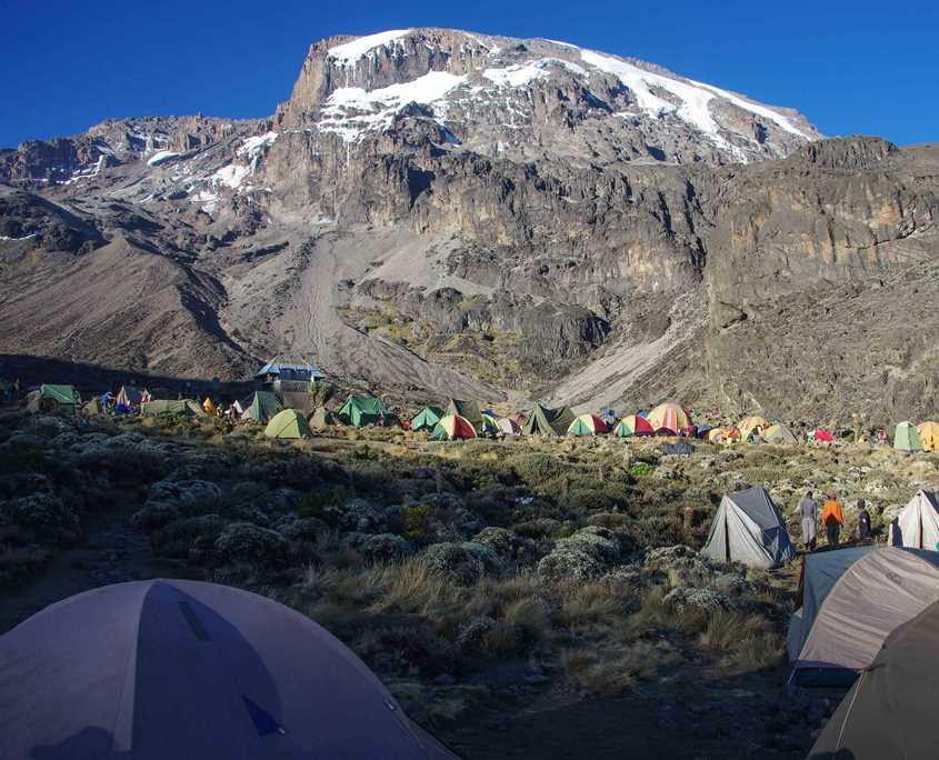 On a Mt Kilimanjaro charity trek you will camp at Barranco Hut
