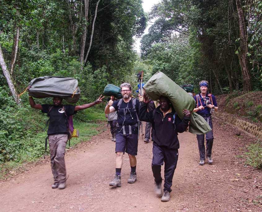 Finishing the Mt Kilimanjaro climb at the Mweke Gate