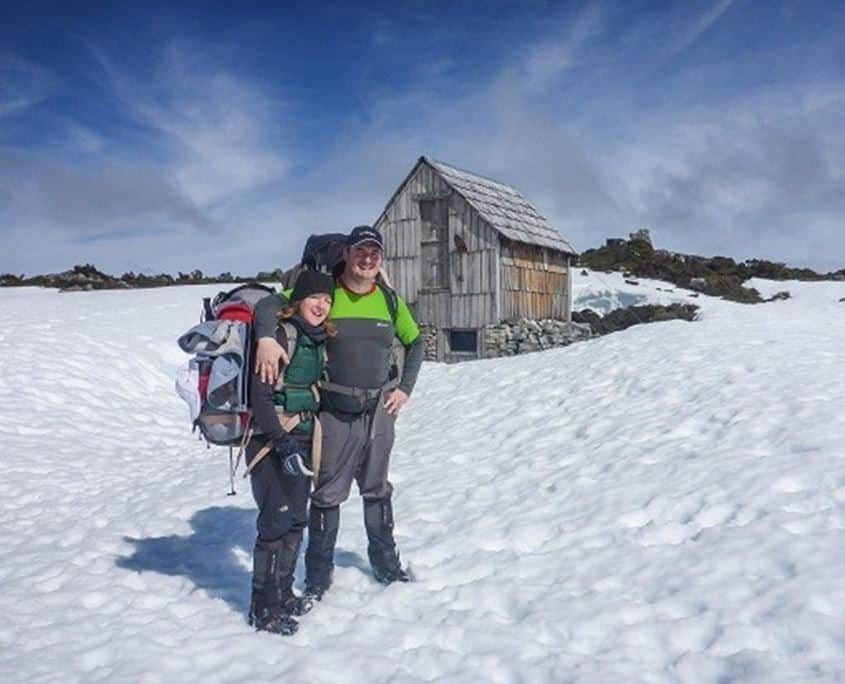 Almost finsihed The Overland Track with a photo in from of Kitcheners Hut on the Cradle Mountain Plateau
