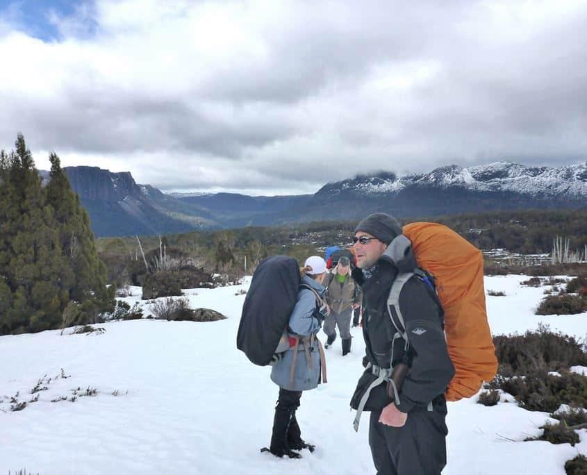 The team hiking in Tasmania on The Overland Track