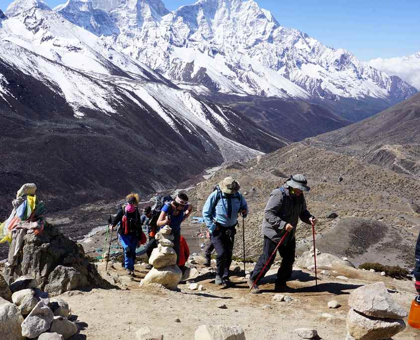 Walking to Everest Base Camp in the Himilayas in Nepal