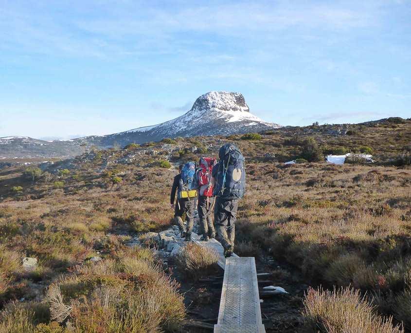 Trekking towards Cradle Mountain on the Overland Track