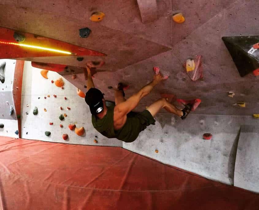 Luke Viles doing some indoor rock climbing