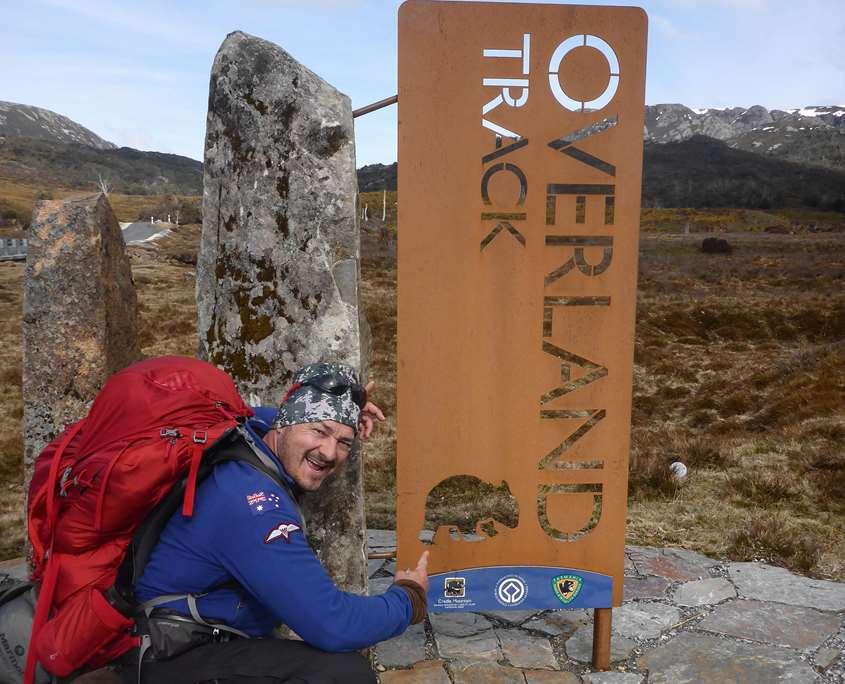 Shane Pophfer near the Overland Track sign