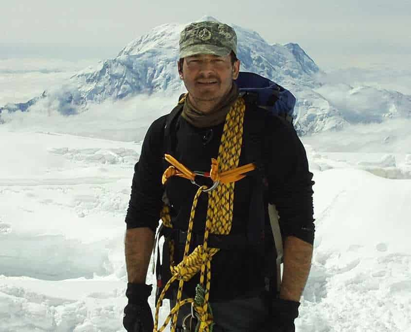 Shane Pophfer standing at base camp on Denali in Alaska